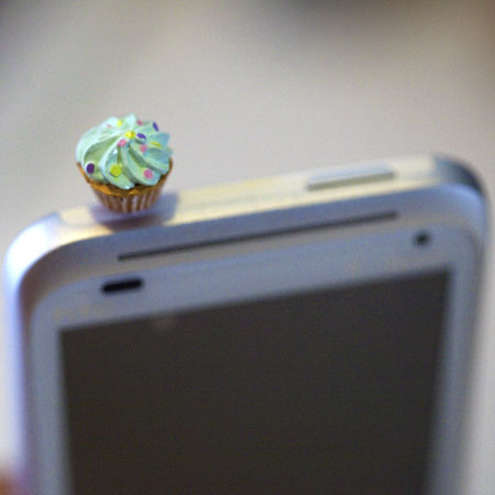 Kawaii GREEN CUPCAKE Iphone Earphone Plug/Dust Plug - Cellphone Headphone Handmade Decorations