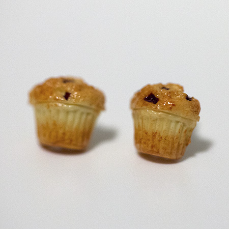 Kawaii Cute Miniature Food Earrings - Blueberry Muffins